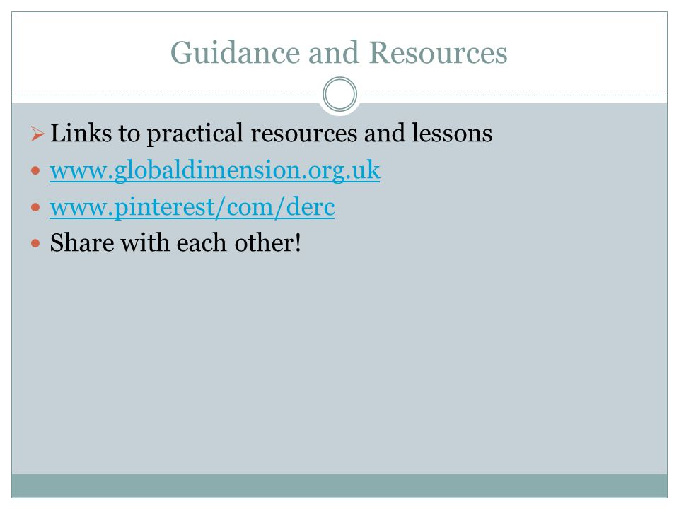 Guidance and Resources
