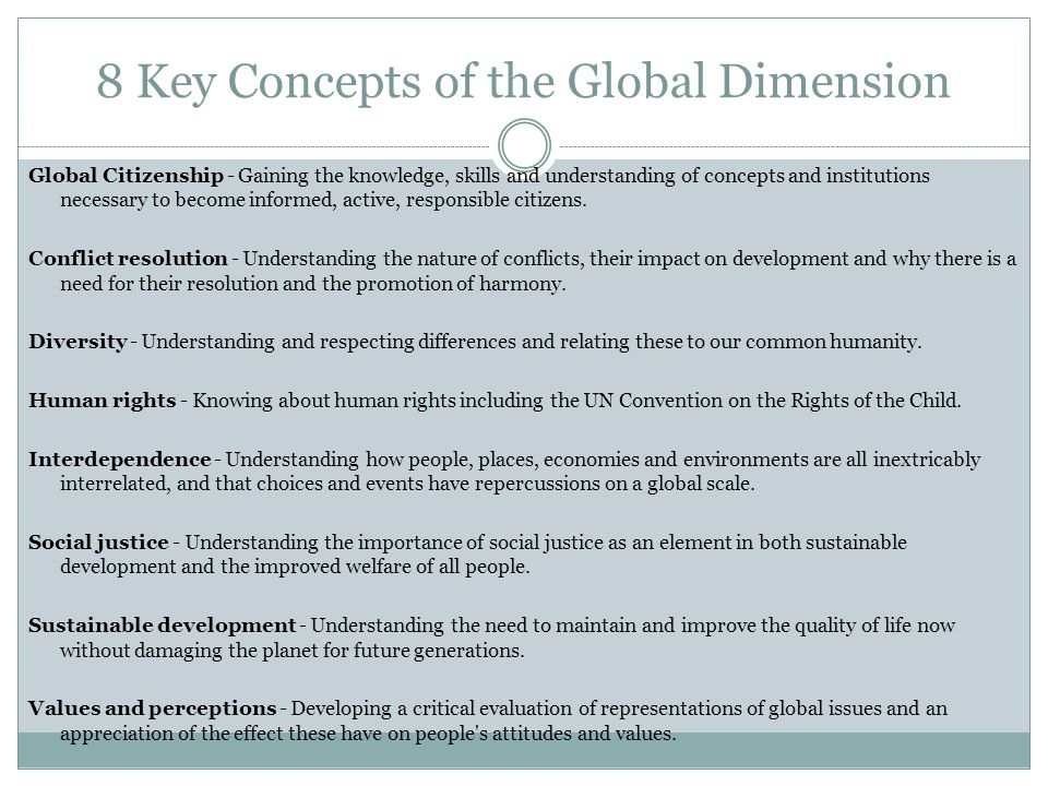 8 Key Concepts of the Global Dimension