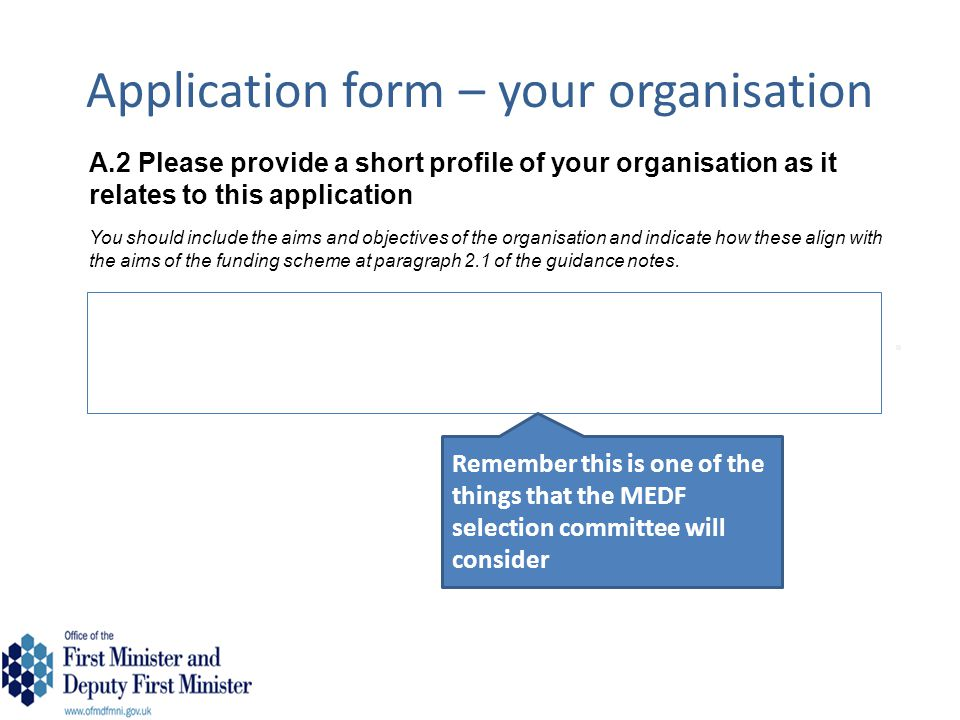 Application form – your organisation