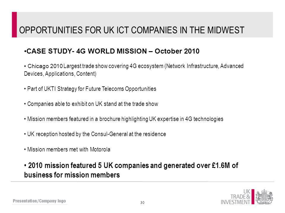 OPPORTUNITIES FOR UK ICT COMPANIES IN THE MIDWEST