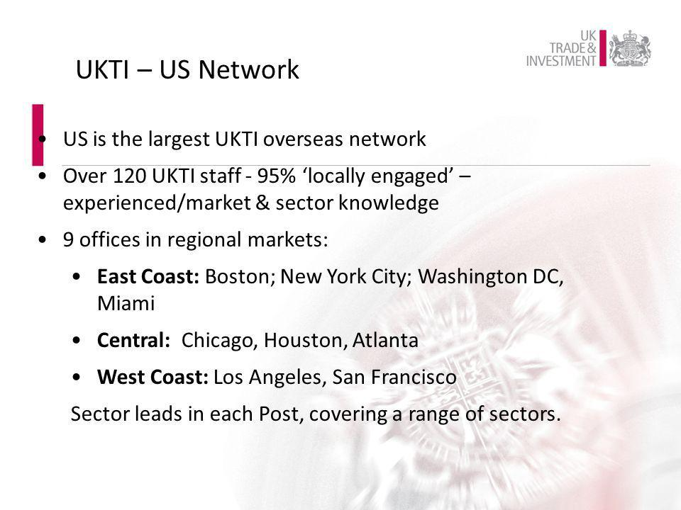 UKTI – US Network US is the largest UKTI overseas network