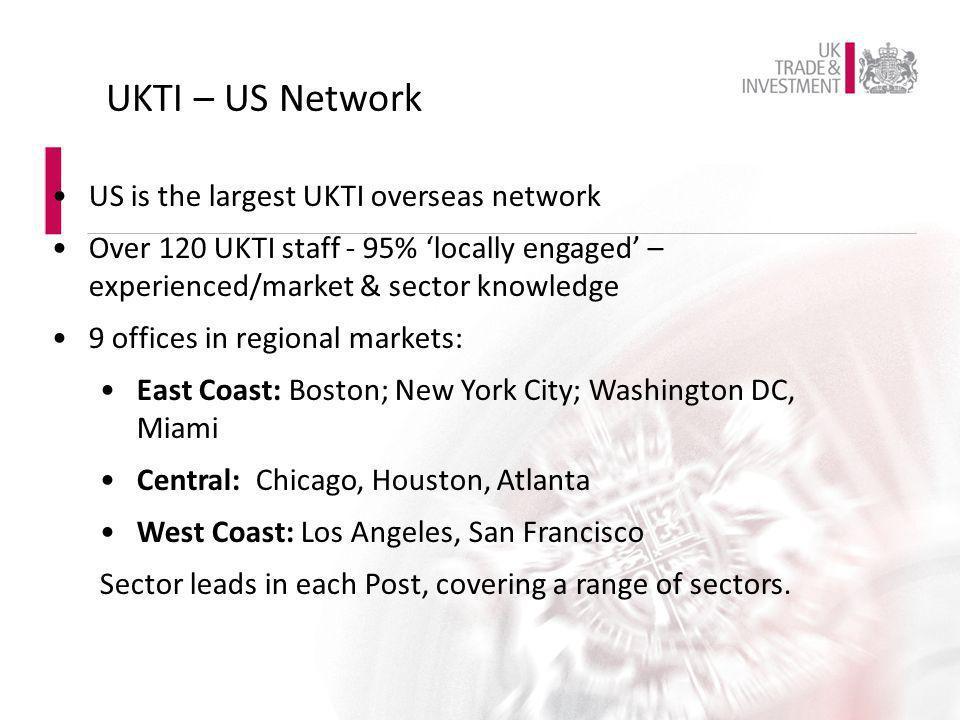 UKTI – US Network US is the largest UKTI overseas network
