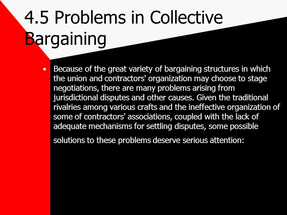 4.5 Problems in Collective Bargaining