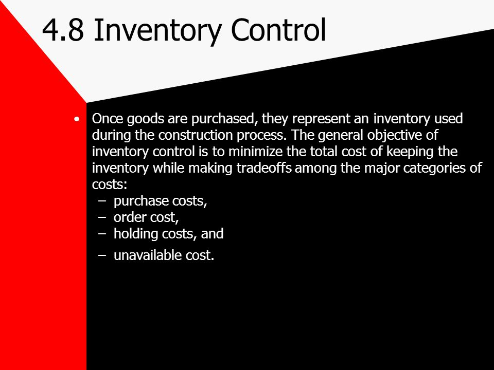 4.8 Inventory Control