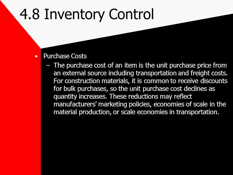 4.8 Inventory Control Purchase Costs