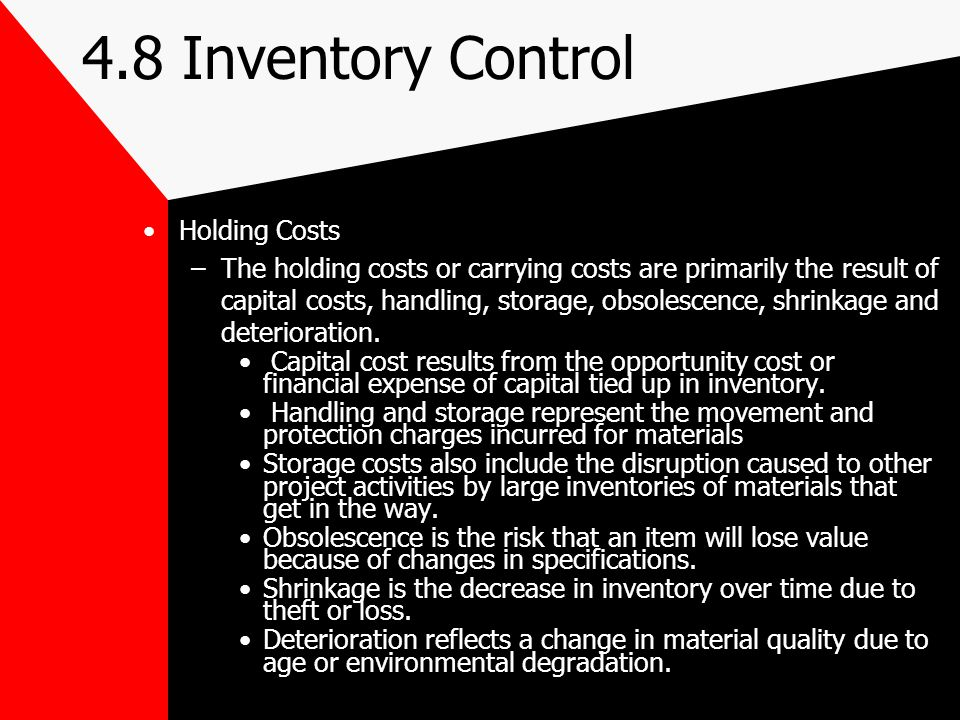 4.8 Inventory Control Holding Costs