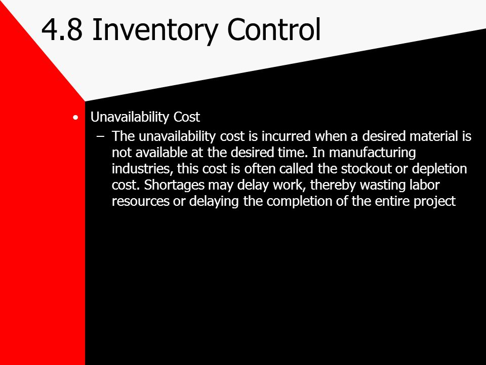 4.8 Inventory Control Unavailability Cost