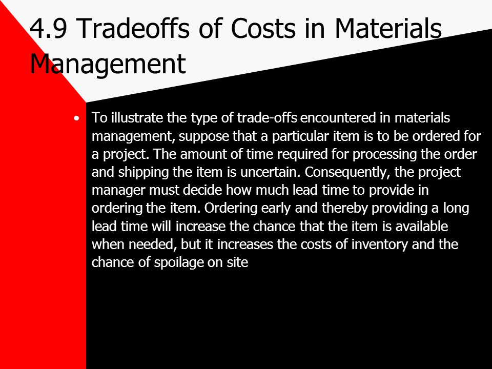 4.9 Tradeoffs of Costs in Materials Management