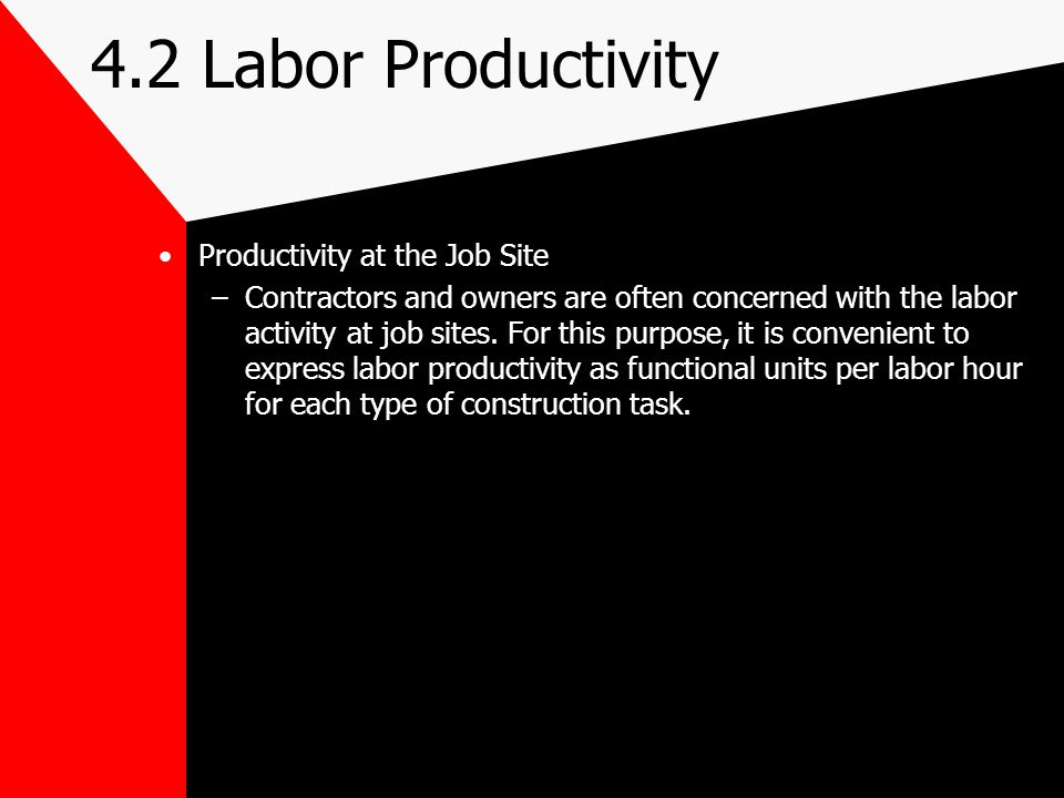 4.2 Labor Productivity Productivity at the Job Site