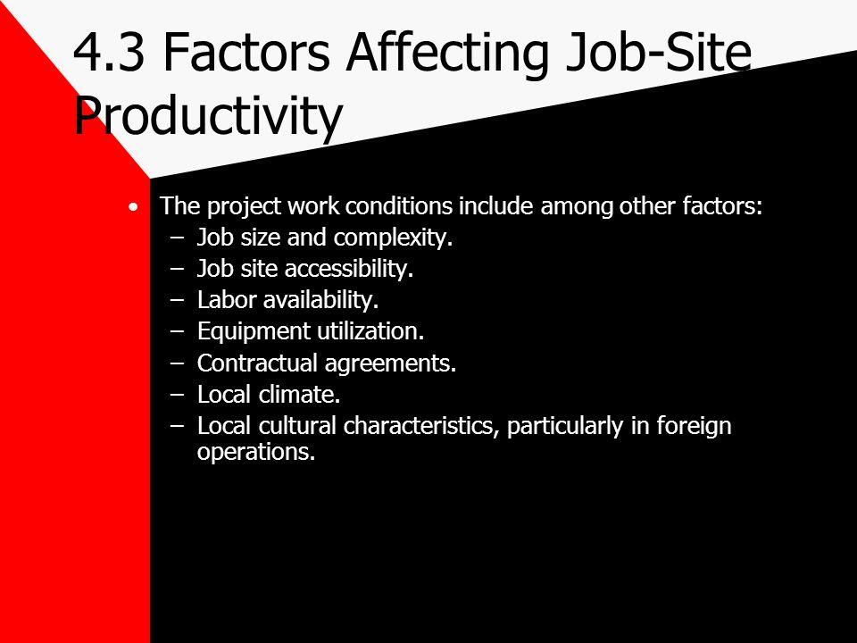 4.3 Factors Affecting Job-Site Productivity