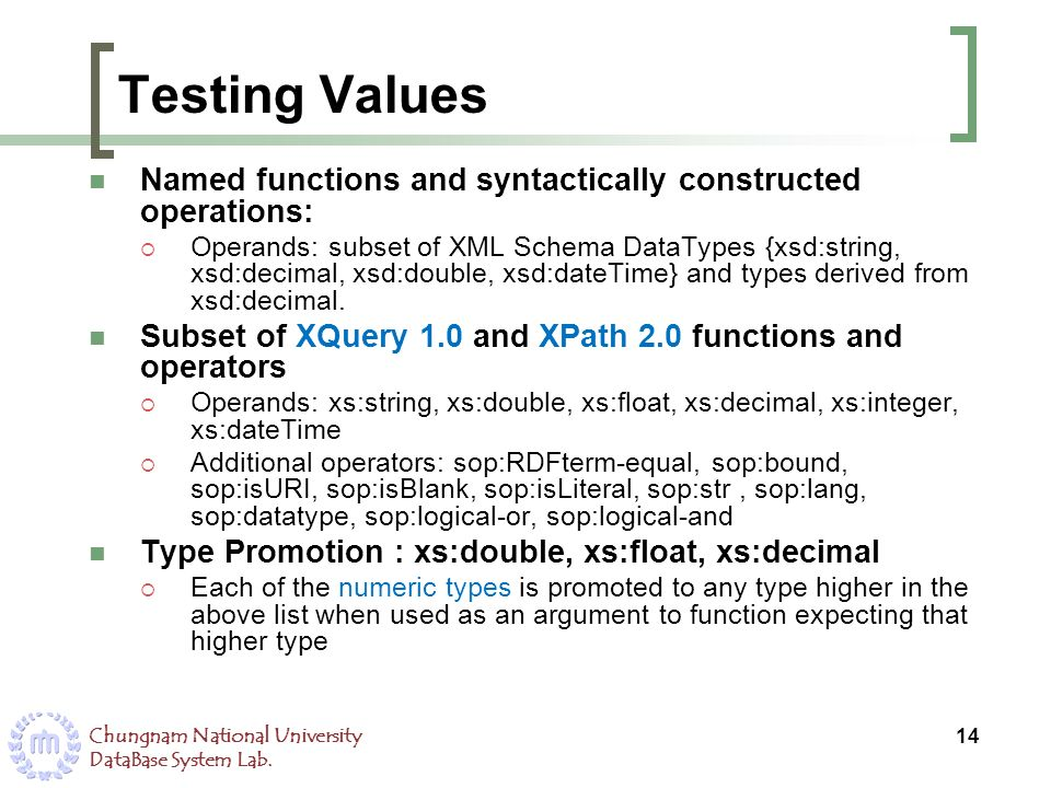 Testing Values Named functions and syntactically constructed operations: