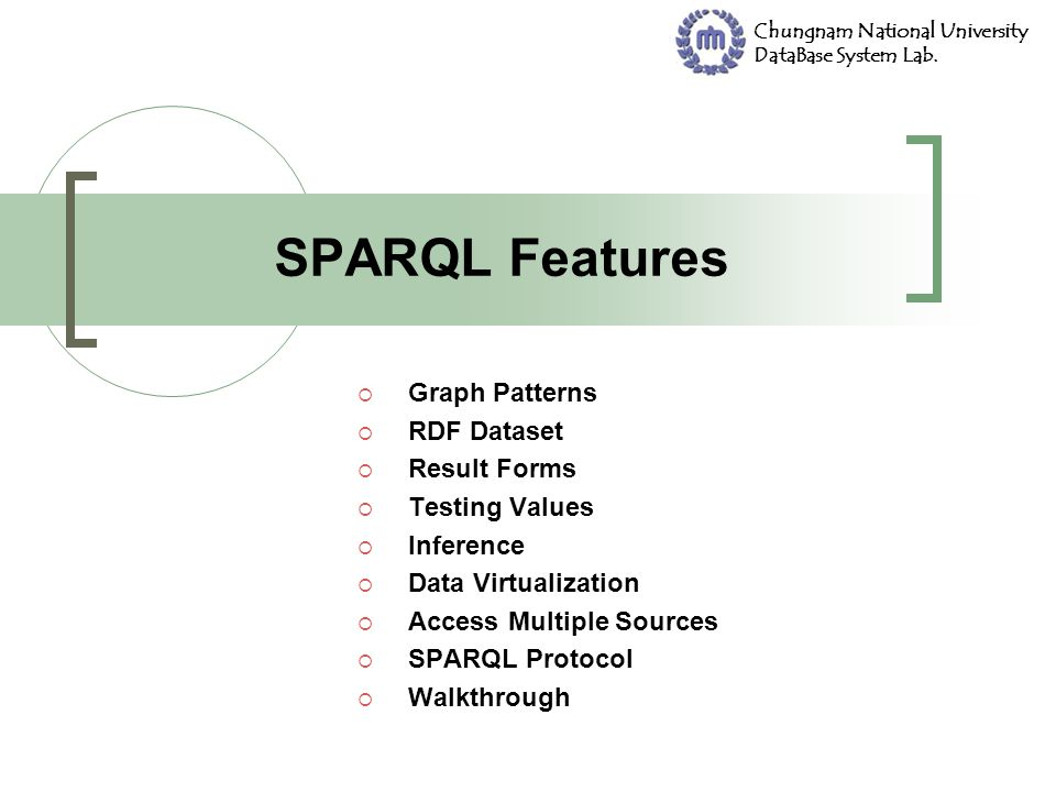 SPARQL Features Graph Patterns RDF Dataset Result Forms Testing Values