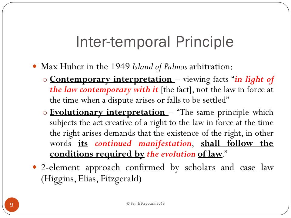 Inter-temporal Principle