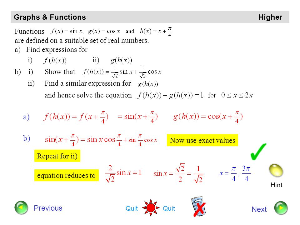 a) b) Graphs & Functions Higher Functions