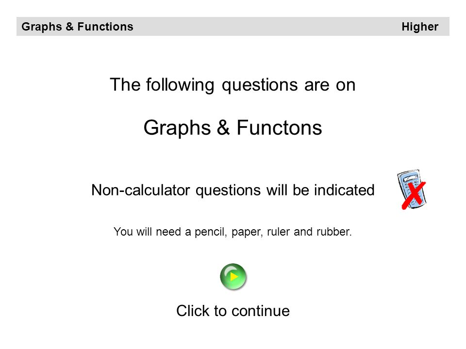 Graphs & Functons The following questions are on