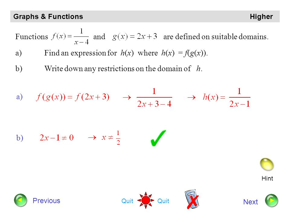 Functions and are defined on suitable domains.