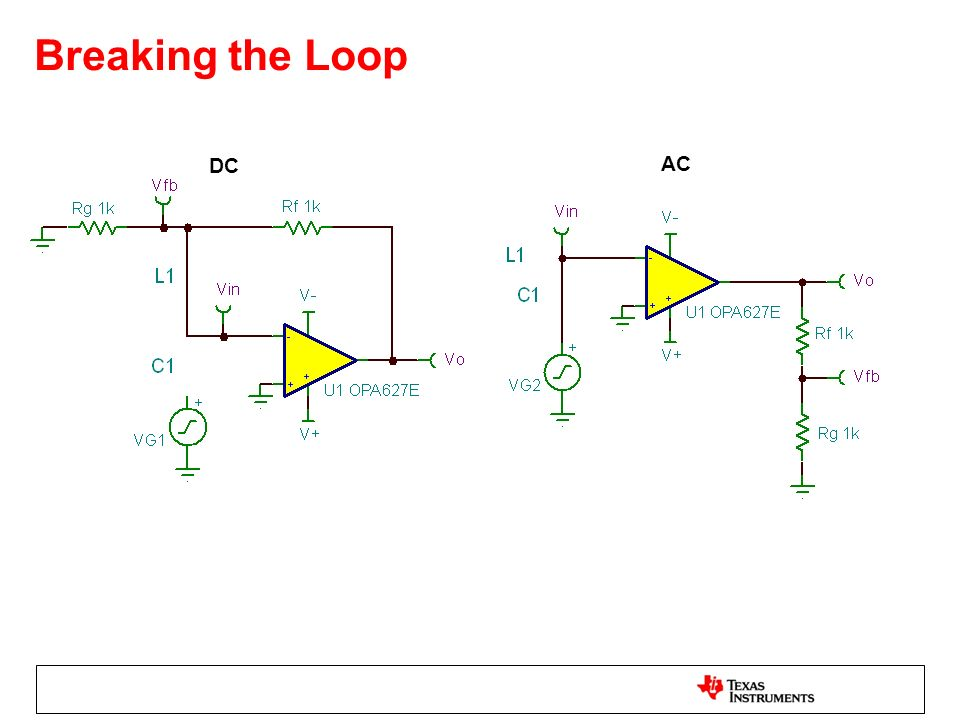 Breaking the Loop DC. AC. To determine the open-loop parameters of their closed-loop system the loop must be broken!