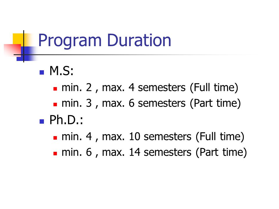 Program Duration M.S: Ph.D.: min. 2 , max. 4 semesters (Full time)