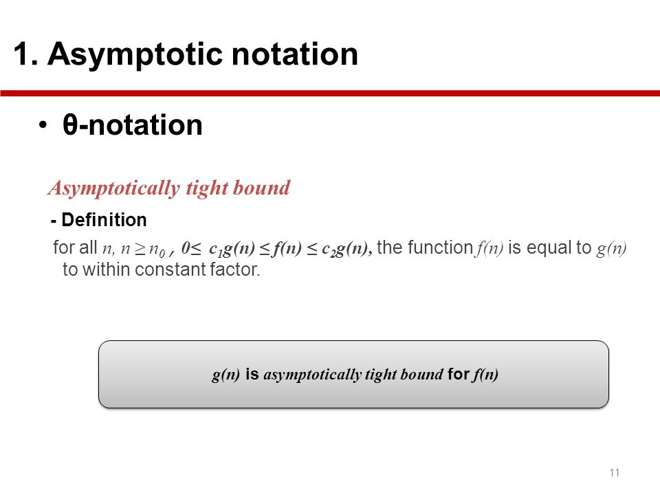 g(n) is asymptotically tight bound for f(n)