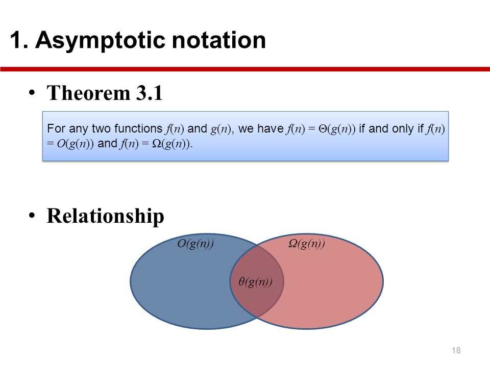 Theorem 3.1 Relationship 1. Asymptotic notation