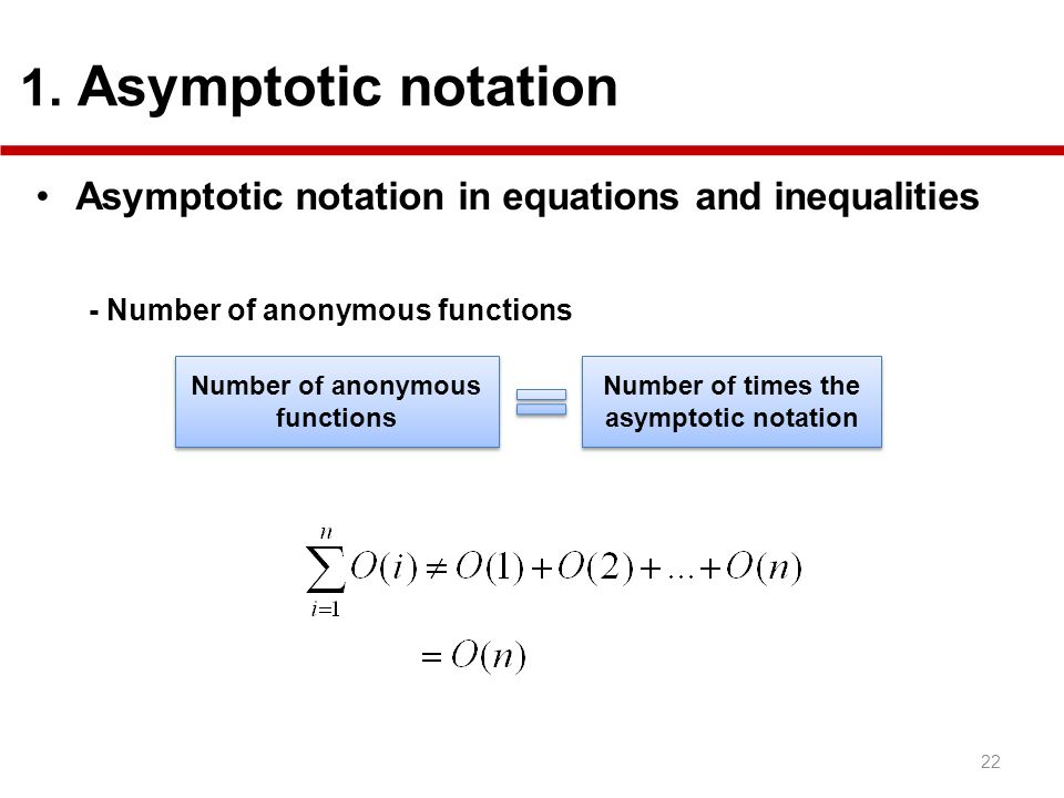 Number of anonymous functions Number of times the asymptotic notation