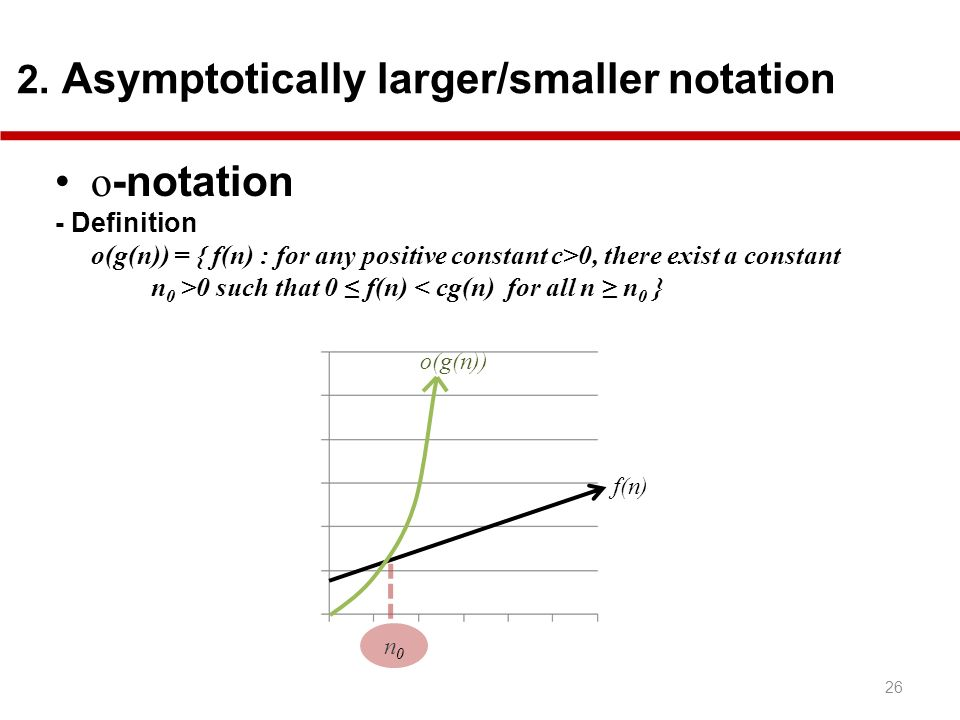 o-notation 2. Asymptotically larger/smaller notation - Definition