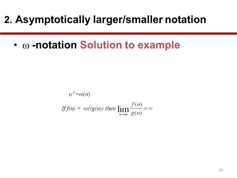 ω -notation Solution to example