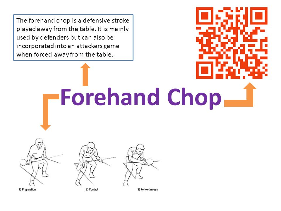 The forehand chop is a defensive stroke played away from the table