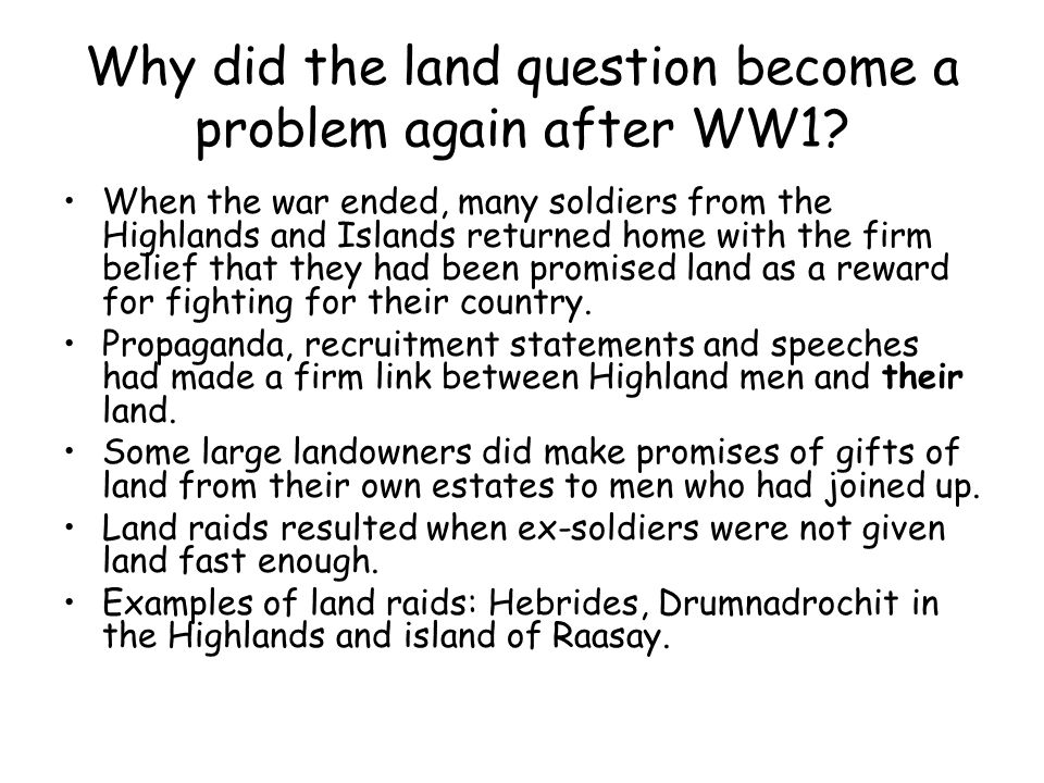Why did the land question become a problem again after WW1