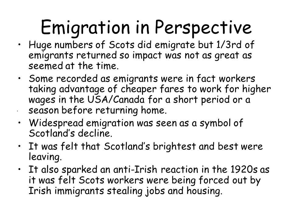 Emigration in Perspective