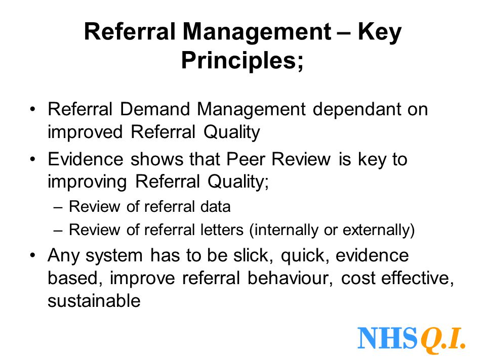 Referral Management – Key Principles;