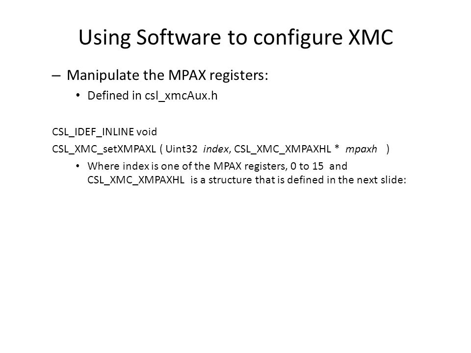 Using Software to configure XMC