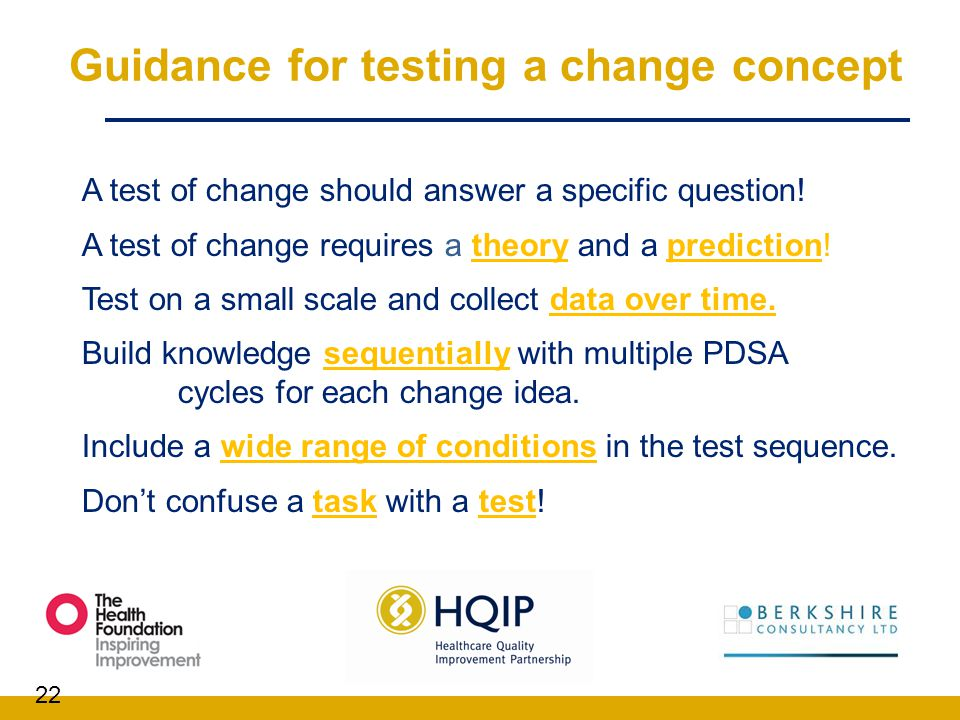 Guidance for testing a change concept
