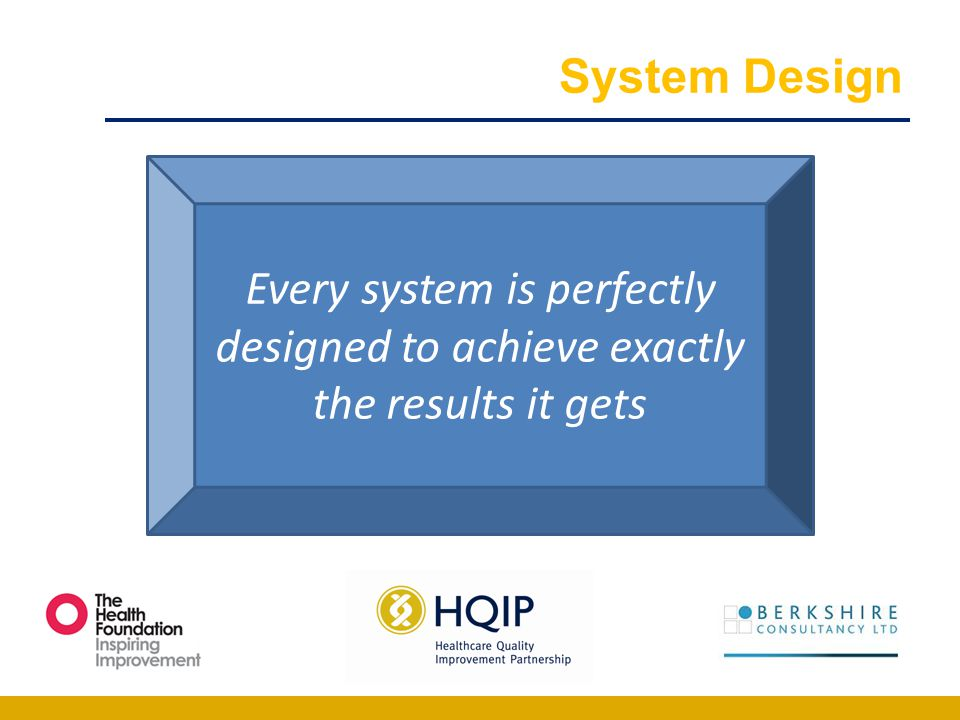 System Design Every system is perfectly designed to achieve exactly the results it gets