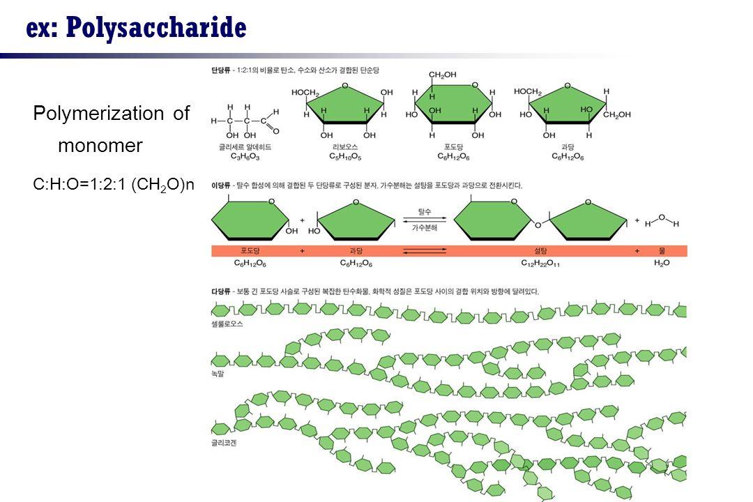 ex: Polysaccharide Polymerization of monomer C:H:O=1:2:1 (CH2O)n