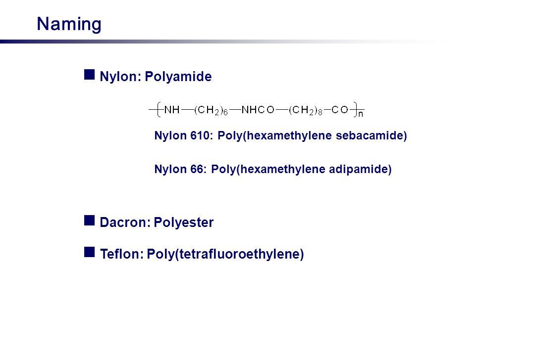 Naming Nylon: Polyamide Dacron: Polyester