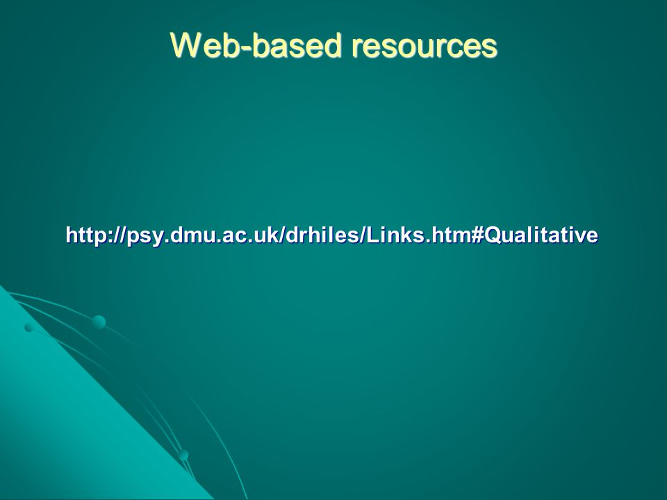 Web-based resources http://psy.dmu.ac.uk/drhiles/Links.htm#Qualitative