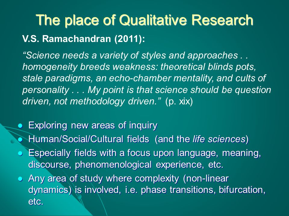 The place of Qualitative Research
