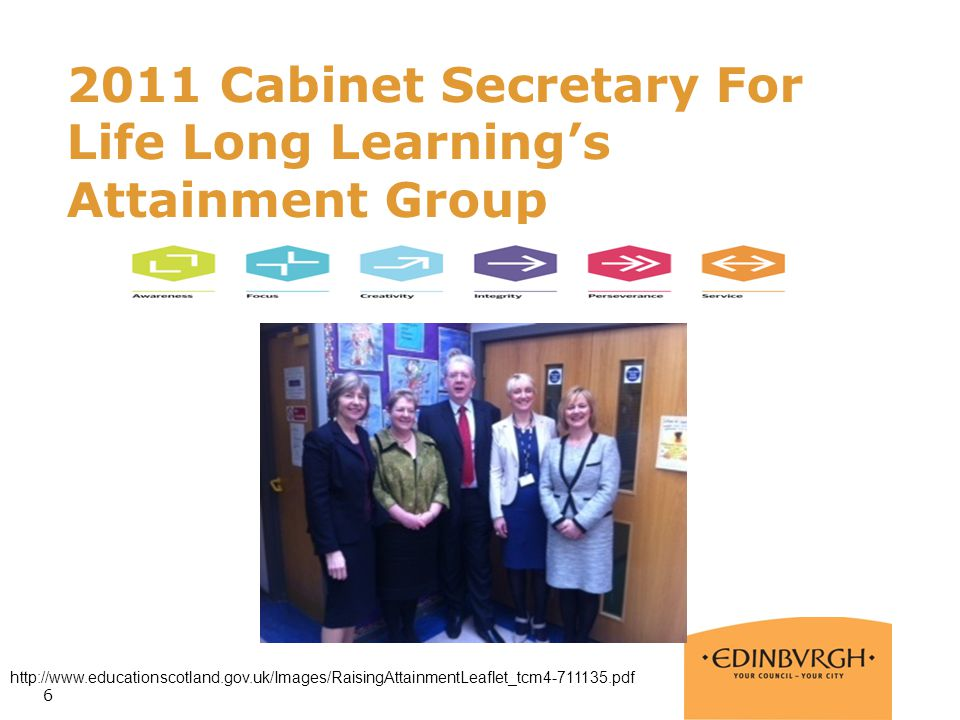2011 Cabinet Secretary For Life Long Learning's Attainment Group