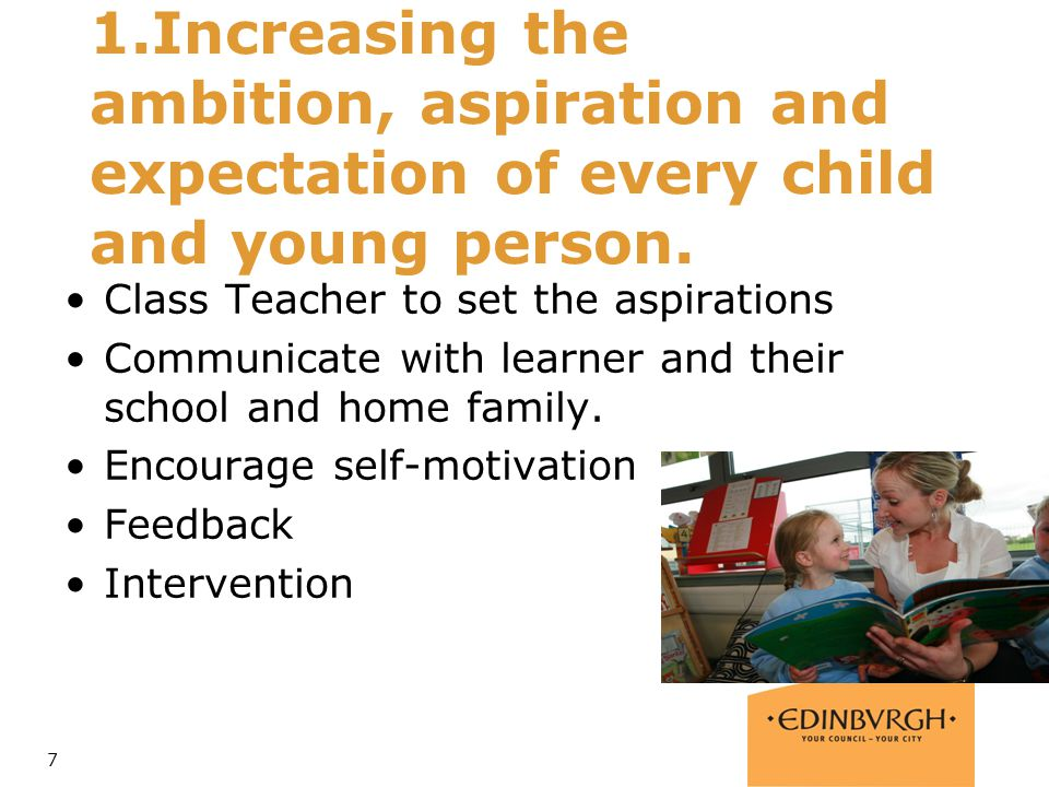 1.Increasing the ambition, aspiration and expectation of every child and young person.