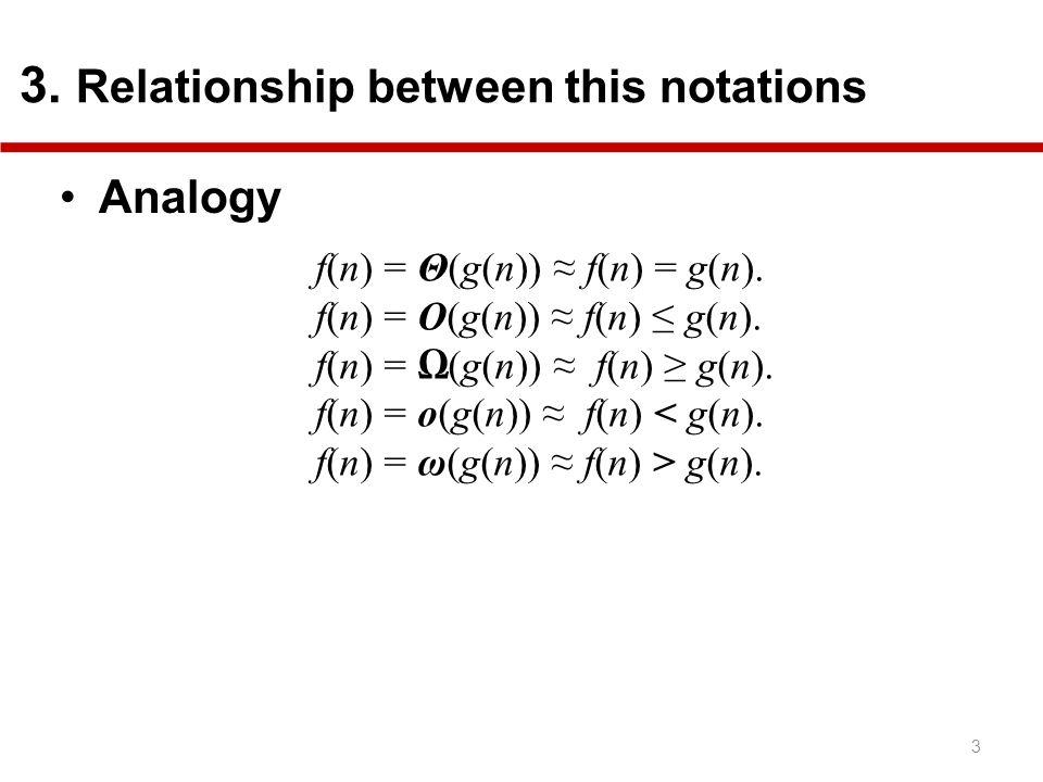 Analogy f(n) = Θ(g(n)) ≈ f(n) = g(n). f(n) = O(g(n)) ≈ f(n) ≤ g(n).