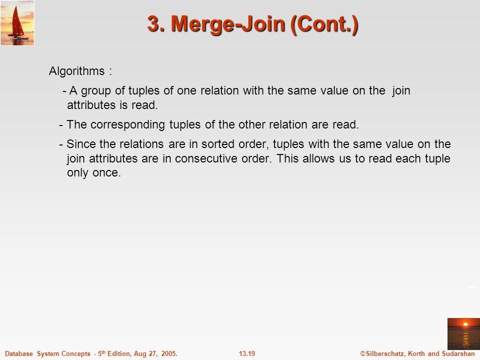 3. Merge-Join (Cont.) Algorithms :