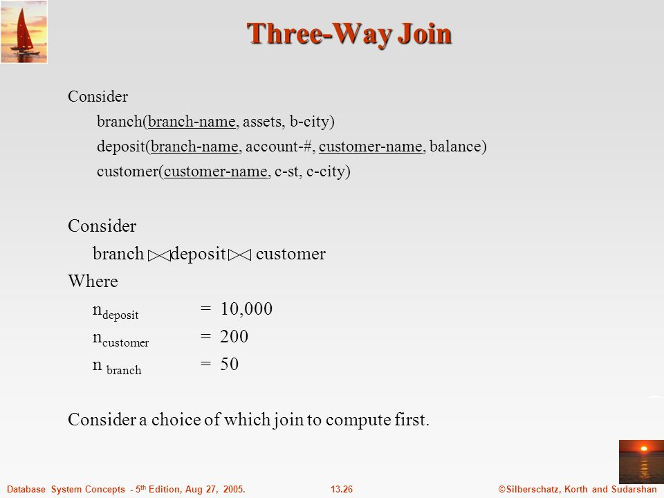 Three-Way Join branch deposit customer Where ndeposit = 10,000
