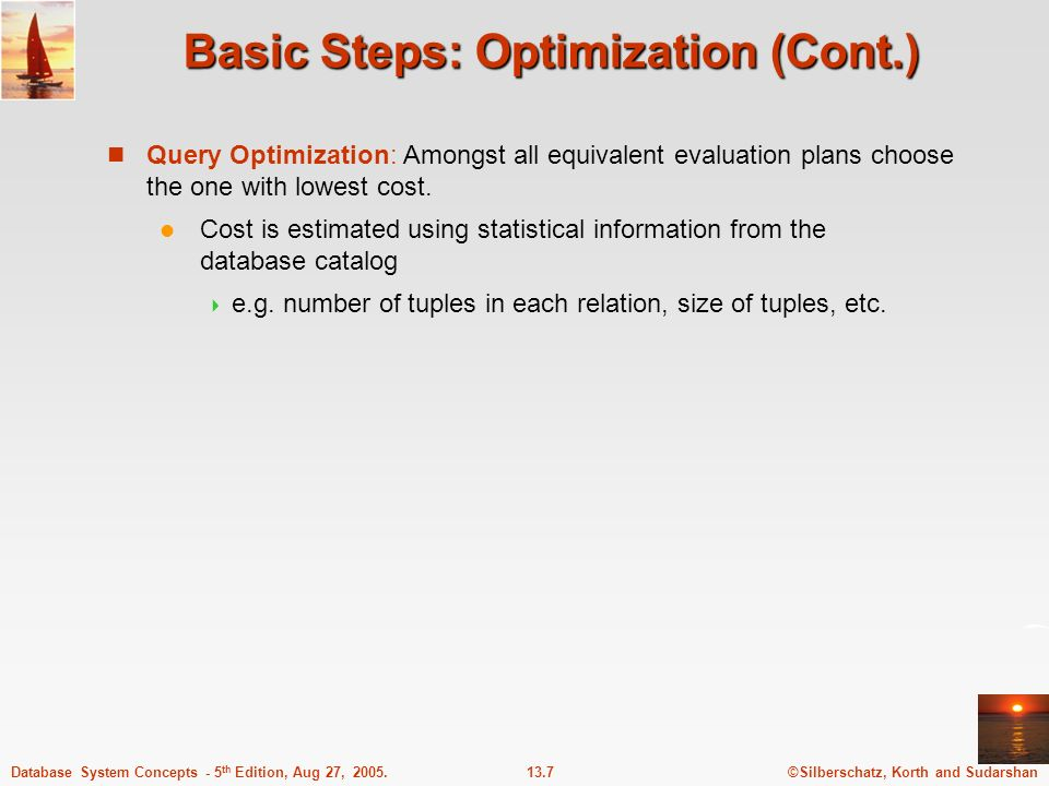 Basic Steps: Optimization (Cont.)
