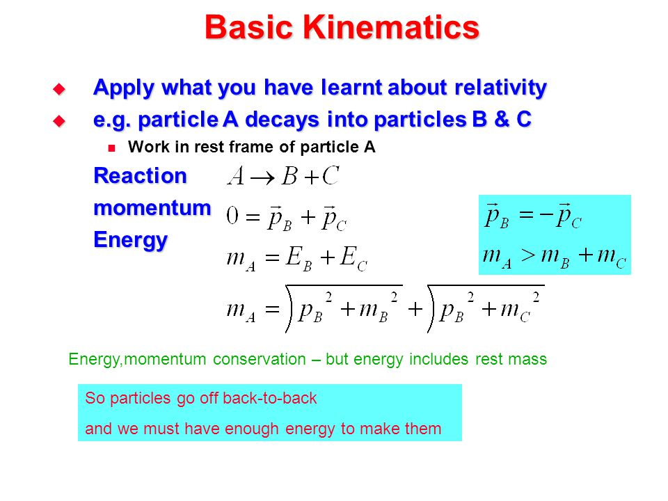 Basic Kinematics Apply what you have learnt about relativity