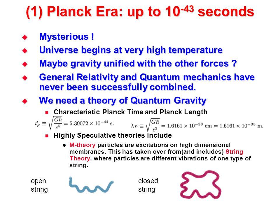 (1) Planck Era: up to 10-43 seconds
