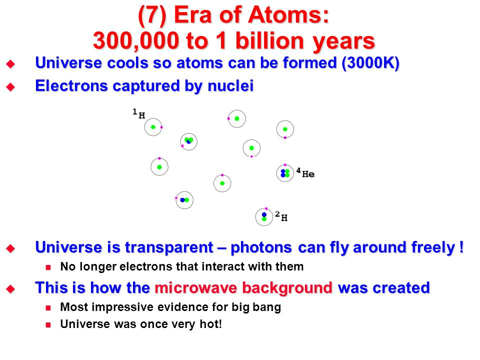 (7) Era of Atoms: 300,000 to 1 billion years