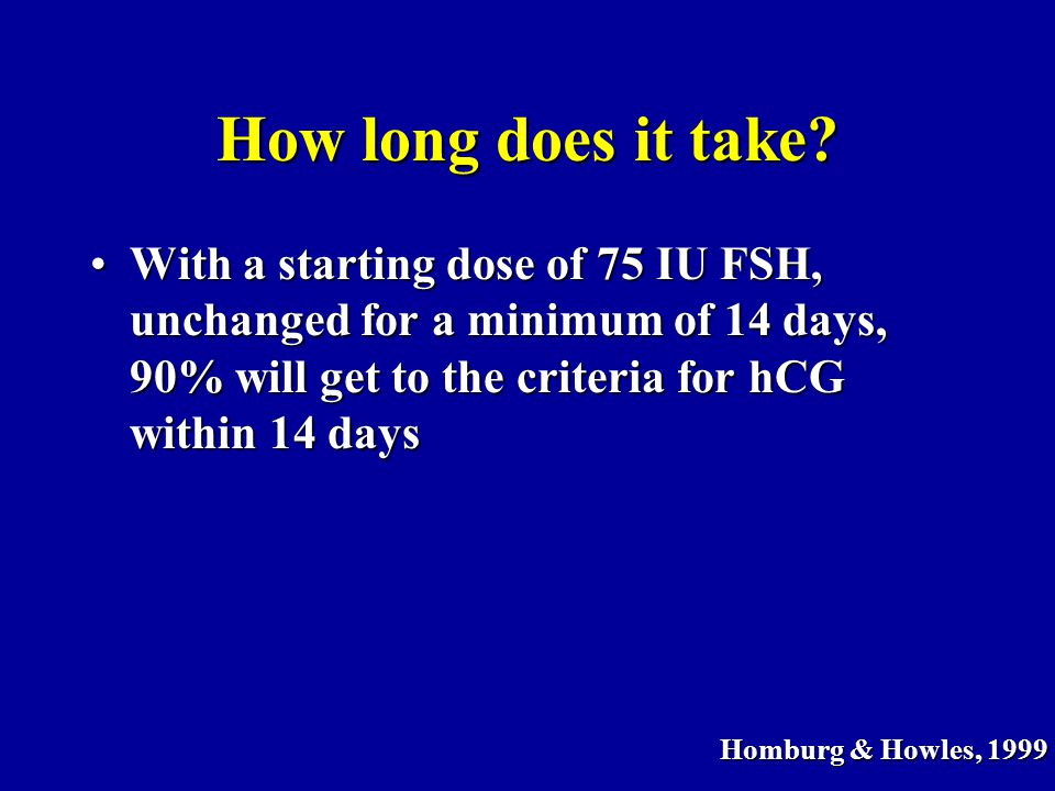 How long does it take With a starting dose of 75 IU FSH, unchanged for a minimum of 14 days, 90% will get to the criteria for hCG within 14 days.