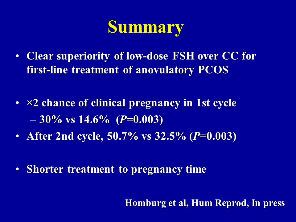 Summary Clear superiority of low-dose FSH over CC for