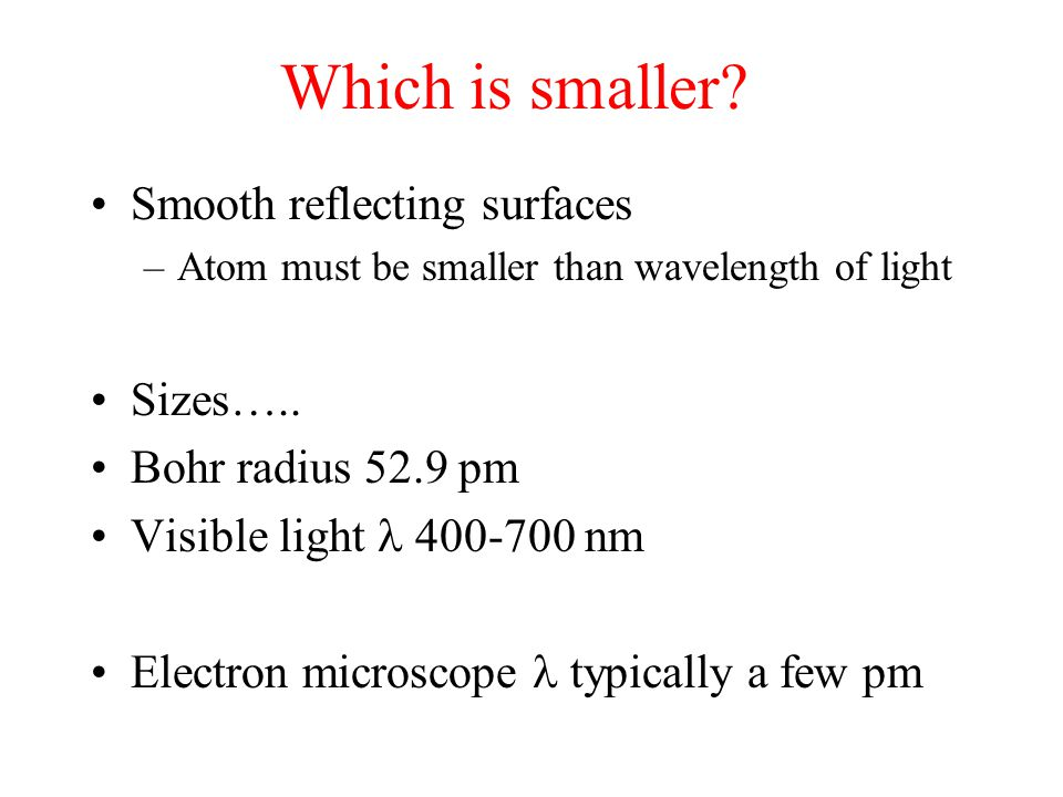Which is smaller Smooth reflecting surfaces Sizes…..